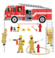 fire truck and fireman yellow 2 vector image