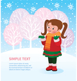 Kid enjoys first snow vector image