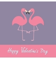 Happy Valentines day Pink flamingo couple neck vector image