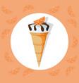 icecream cone delicious icon flat style vector image
