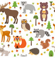 seamless pattern with cute forest animals vector image