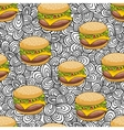 Seamless pattern with doodle hamburger on the vector image