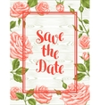 Wedding invitation card template with roses vector image