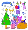 Gift and spruce Christmas theme collection vector image