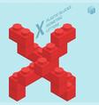 plastic blocs letter x vector image