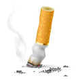 realistic cigarette butt on white background vector image vector image