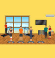 fitness people in sports wear in the gym with vector image