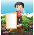 A man standing above the stump holding an empty vector image vector image