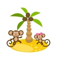 Dancing monkey couple near coconut palm tree clip vector image