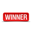 Winner red 3d square button isolated on white vector image