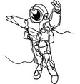 astronaut in spacesuit in space continuous line vector image