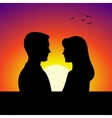 Black couple silhouettes in front of sunset vector image