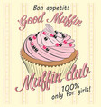 card with pink fruit muffin vector image