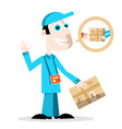 delivery man with parcel vector image