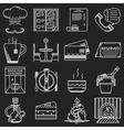 Restaurant service white line icons vector image