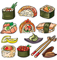 Sushi seafood icon set vector image