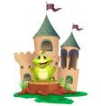 A frog sitting at the wood with a castle at the vector image