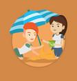 friends building sandcastle on beach vector image