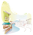 Townscape Canal Drawing vector image vector image