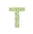Spring green leaves eco letter T vector image vector image
