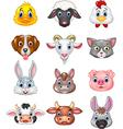 Cartoon happy animal head collection vector image