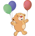 A stuffed toy bear cub with toy balloons cartoon vector image