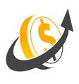 Arrow Dollar Coin Symbol vector image