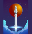 colorful cartoon rocket launch concept vector image