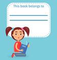 cute schoolgirl on ex-libris this book belong to vector image