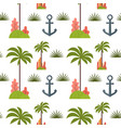 palm tree and anchor seamless pattern vector image