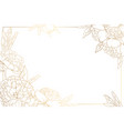 Rose peony border frame decorated corners golden vector image