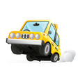yellow cab taxi car icon transportation city urban vector image