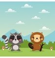 Beaver and raccoon cartoon icon Woodland animal vector image