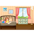 A child studying inside her room vector image vector image
