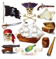 Pirates Cartoon Icons Set vector image