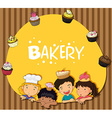 Bakery theme with children and cupcakes vector image