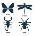 butterfly and dragonfly scorpio and spider on vector image