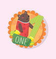 colorful round emblem with cute bear and number vector image