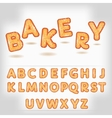 Comic cartoon bakery style alphabet vector image