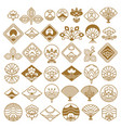 fan and lotus fancy icons set vector image