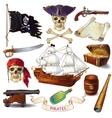 Pirates Cartoon Icons Set vector image