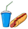 hot dog and drink fast food hand drawn sketch vector image