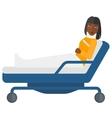 Patient lying in bed vector image vector image
