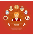 Waiter Concept Icons vector image