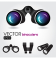 Black binocular with blue lenses and some symbols vector image