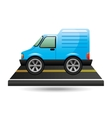blue delivery van on road vector image