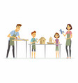 family making handicrafts - cartoon people vector image