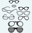 Set glasses and lips silhouettes vector image
