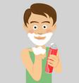 teenager boy shaving showing foam vector image