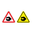Warning sign attention kiss Hazard yellow sign vector image